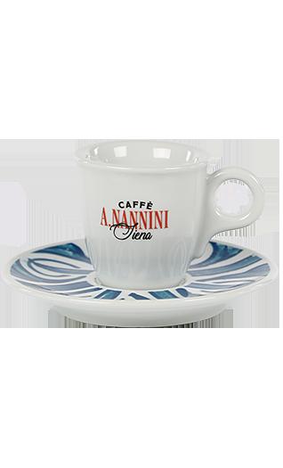 Nannini Espressotasse mit blauer Untertasse