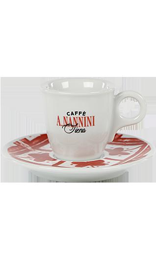 Nannini Espressotasse mit roter Untertasse